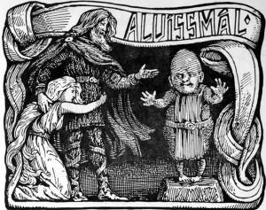 Il nano Alviss e il dio Thor come descritti nella saga Alvissmal