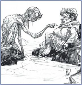 """Illustrazione di Peter de Seve: """"Gollum e Bilbo"""" - http://www.peterdeseve. com/"""