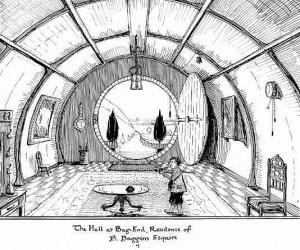 "Disegno di J.R.R. Tolkien: ""The Hall at Bag-End, Residence of Bilbo Baggins Esquire"""