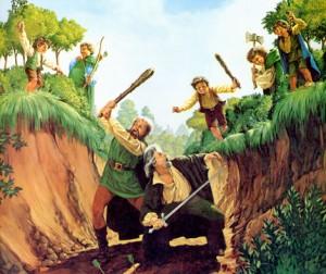 """Illustrazione: dettaglio di """"The Scouring of the Shire"""" dei fratelli Hildebrandt"""
