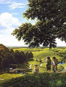 """Illustrazione: dettaglio di """"Green Hill Country"""" di Ted Nasmith"""