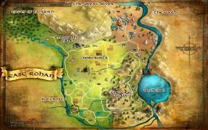 La mappa della regione orientale di Rohan