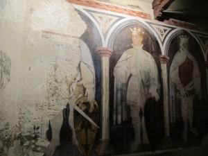 Palazzo Trinci a Foligno: affresco con re Artù e Carlo Magno (1412)