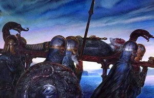 "John Howe: ""Beowulf's Funeral"""