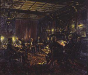 Magdalen: dipinto di Alan Sorrell (1954), da sinistra a destra A.W. Raitt, C.G. Hardie, A.W. Adams, G. Ryle, T.S.R. Boase, G.R. Driver, J.A.W. Bennett, J.H.E. Griffiths, and C.S. Lewis.
