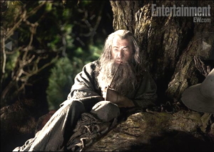 Gandalf in una immagine dal set del film Lo Hobbit