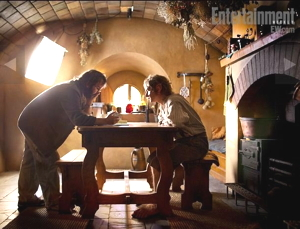 Jackson e Freeman sul set del film Lo Hobbit