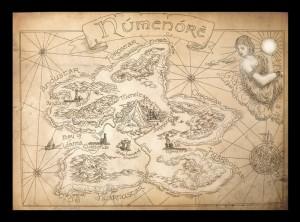 """Mappa """"Old Numenore"""" - disegno di Amegusa"""