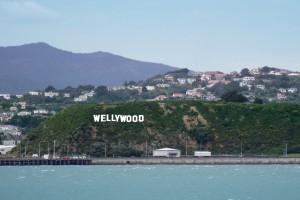 "Cartello ""Wellywood"" a Wellington, Nuova Zelanda"