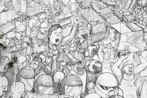 Murale di Blu: Pinocchio