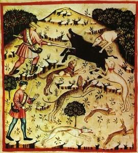 caccia medioevale dal Taccuino Sanitatis, Casanatense