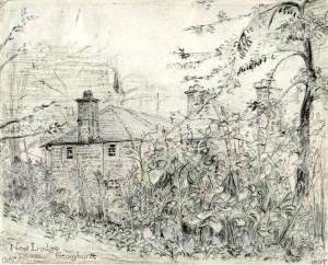 """Disegno a a mano di Tolkien: """"New Lodge Stonyhurst"""""""
