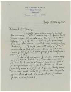 Lettera 28 giugno 1955 in asta