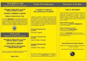 Calendario incontri Istituto tomistico di Modena