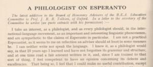 A Philologist for Esperanto