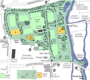 Oxford University Parks: mappa