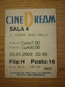 Biglietto cinema Signore degli Anelli