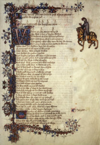 Prima pagina del Knight's Tale - Ellesmere manuscript