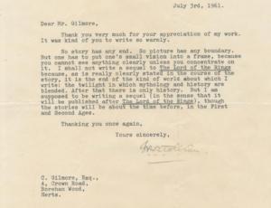 Lettera Tolkien 3 Luglio 1961